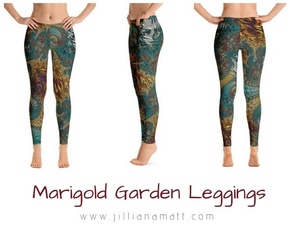 e7504098809 Red Gold Green Women s Leggings Fractal Infinity Bohemian