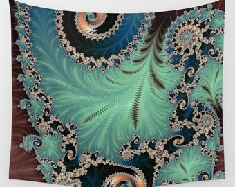 Mint Green and Blue Fractal Wall Tapestry, Mandelbrot Infinity Beach Blanket, Sacred Geometry Trippy Festival Ground Sheet,FREE SHIPPING US