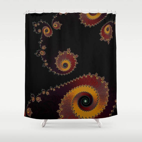 Black Red Yellow Fractal Shower Curtain Sacred Geometry