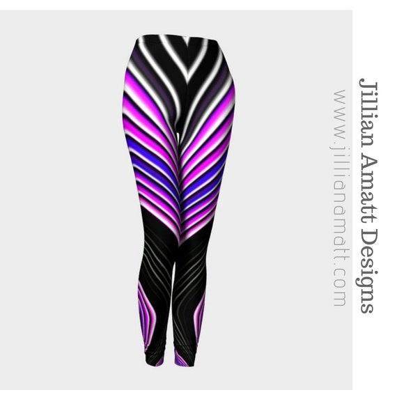 79eeab1629e3f6 Striped Pink White Black Leggings Geometric Pattern Festival   Etsy