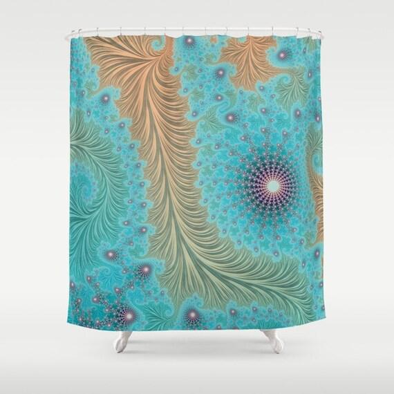 Turquoise Aqua Shower Curtain Fractal Sacred Geometry