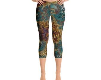 Green Red Gold Fractal Capri Leggings, Sacred Geometry Mandelbrot Tights, Trippy Psychedelic Millennial Festival Clothing,Yoga Dance Wear