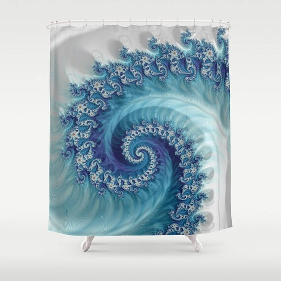 Blue White Aqua Wave Shower Curtain Fractal Sacred Geometry