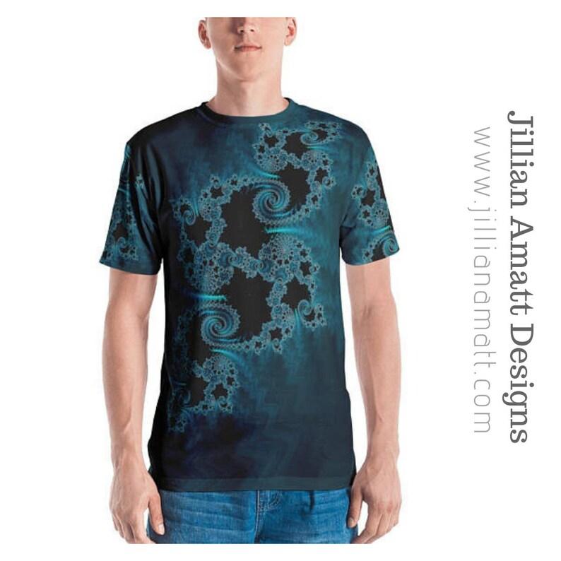 00cfe77bd Teal Black Fractal Mens T-Shirt Sacred Geometry Festival   Etsy