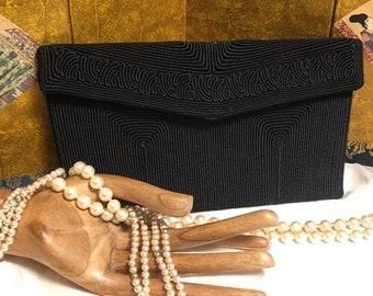 a4d4ecc7027d Vintage black small Corde  formal clutch purse
