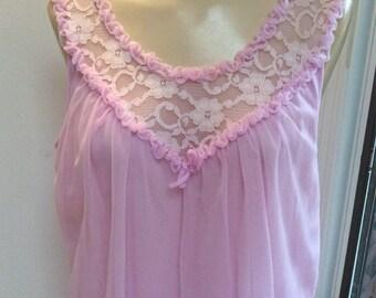 Vintage soft lilac lavender retro short night gown 5c6862093