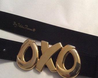 5f1c302c20f49 Vintage black suede Paloma Picasso logo belt