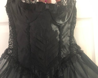 0845a6a262 Vintage sexy sheer corset look night gown S M