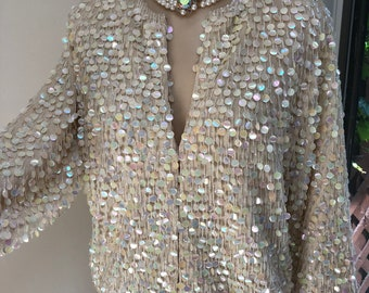 27d0a62bd0f Vintage British Hong Kong beige wool dangle sequins dressy cardigan