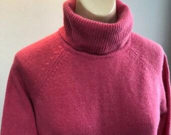 Vintage carnation pink turtleneck tunic sweater L 8275cfc0c