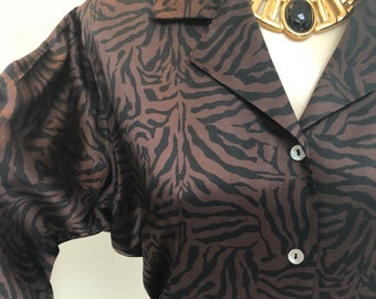 4570e53ac4ebc3 Vintage brown black tiger print silk button blouse, sz 2P animal print silk  blouse, tiny lady professional blouse, petite sz 2 tiger print
