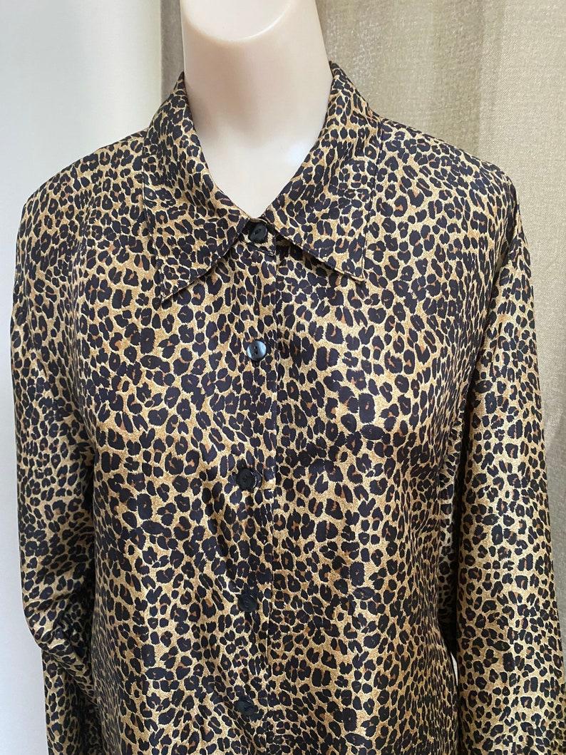 woman/'s silk leopard scarf M black brown beige print silk shirt animal print silk blouse Vintage silk leopard print tunic blouse sz ML