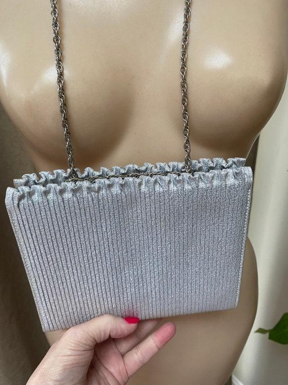 Vintage silvery ruffle boxy handbag, bride's silve