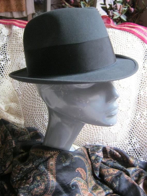 Vintage unisex fedora, charcoal grey unisex fedor… - image 3
