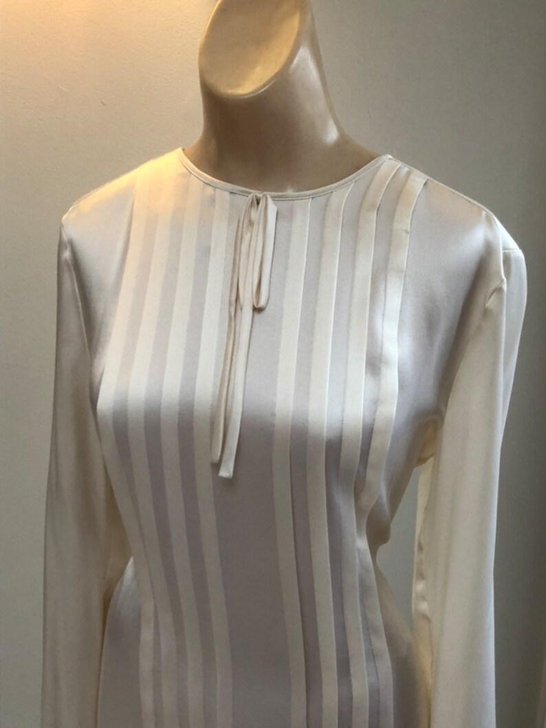 928d2855ca119 Vintage cream beige pleat front silk blouse sz S sz 8 Rena