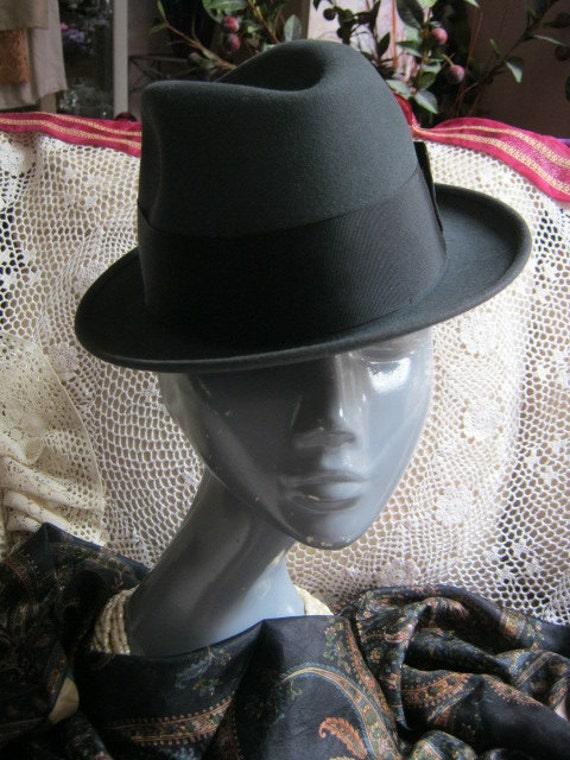 Vintage unisex fedora, charcoal grey unisex fedor… - image 1