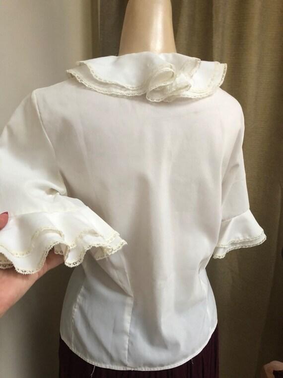 Vintage white double ruffles retro blouse Small, … - image 5