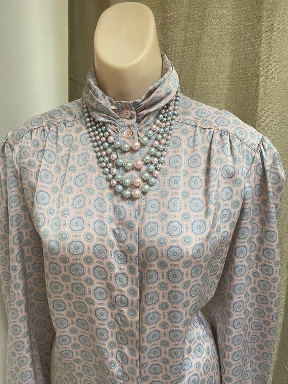 Vintage silky sexy secretary pastels blouse M, ma… - image 1