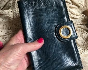 Vintage dark turquoise blue leather Lodis passport wallet/clutch, made England dark teal blue travel clutch wallet, LODIS  retro clutch
