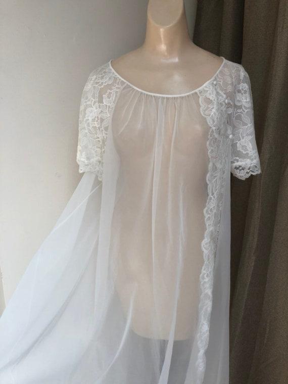 Vintage ivory sheer Vanity Fair long robe, bride's