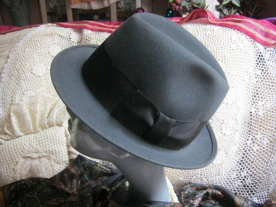 Vintage unisex fedora, charcoal grey unisex fedor… - image 2