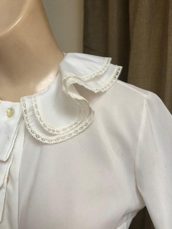 Vintage white double ruffles retro blouse Small, … - image 2
