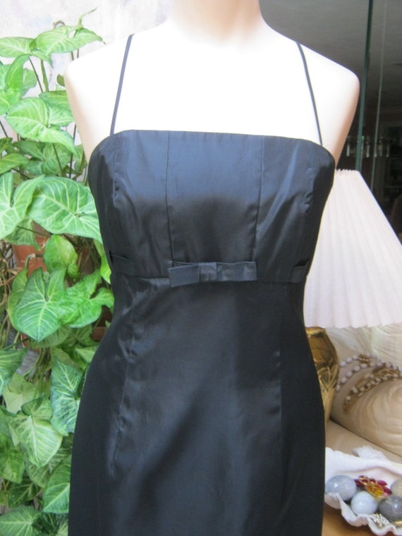 Vintage black satin taffeta empire waist gown, Aud