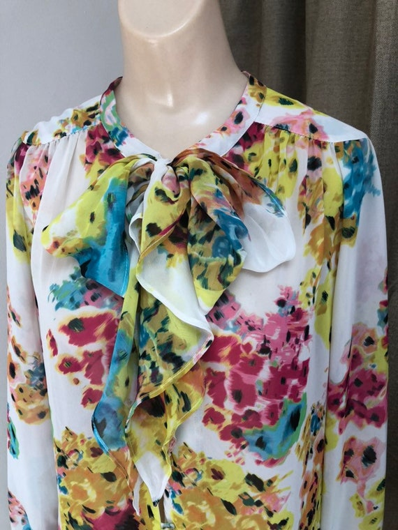 Vintage silky feel polyester flowered tied neck bl