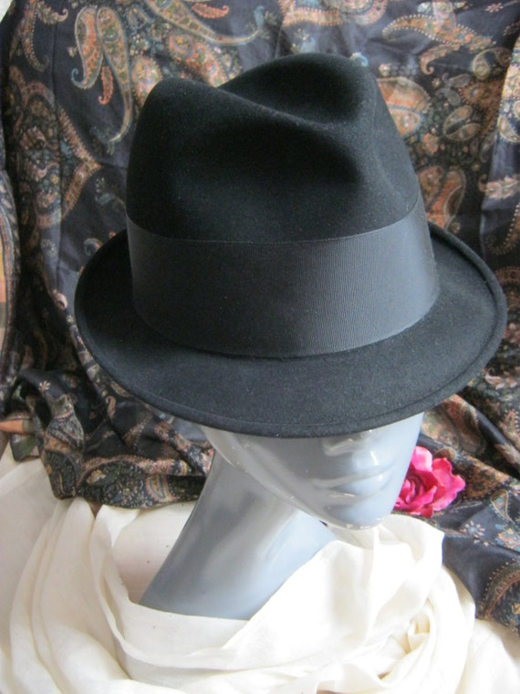 Vintage Black wool fur blend fedora hat, black fur