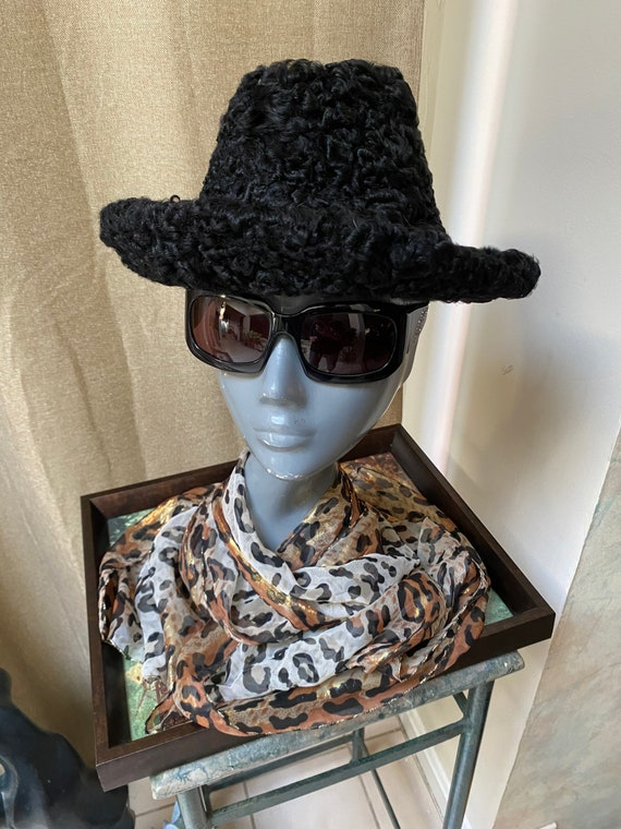 Vintage black quality Persian lamb woman's fedora,