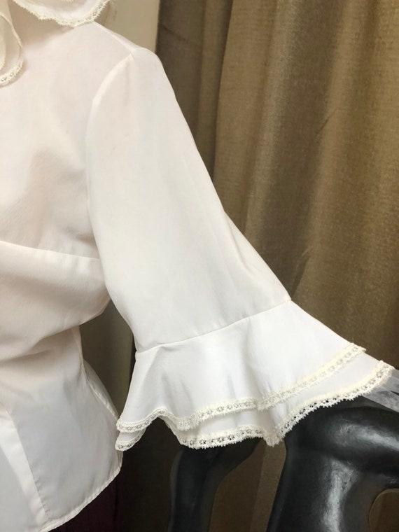 Vintage white double ruffles retro blouse Small, … - image 3