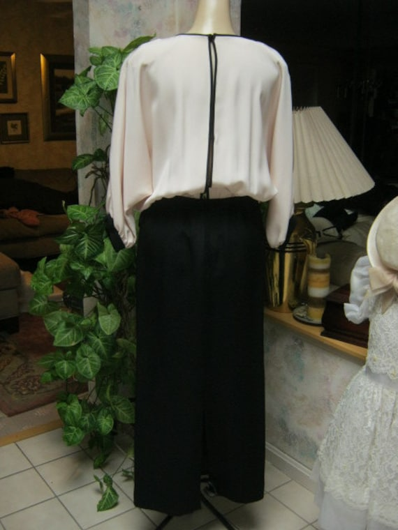Vintage 70s black and ivory dolman sleeve evening… - image 4