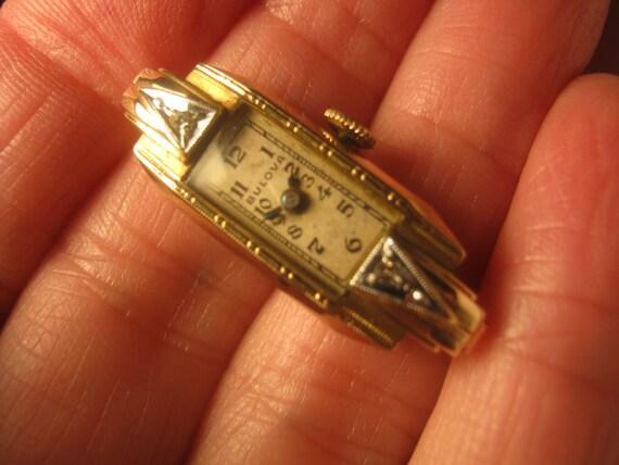 Vintage delicate deco 10kt gold filled watch face