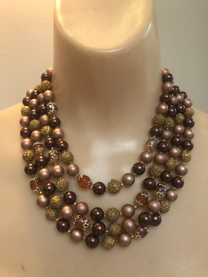 retro brown copper beads multi strand autumn colors bead necklace cluster earrings Vintage 4 strand coppery plum mauve cascading necklace