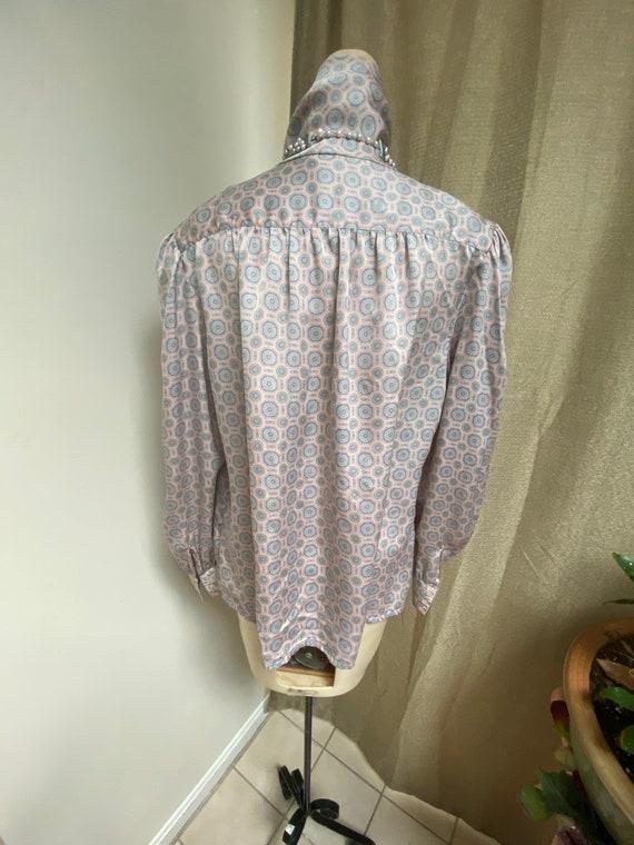 Vintage silky sexy secretary pastels blouse M, ma… - image 8