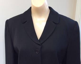 Vintage black sz Small wool blend fitted blazer, woman's professional black blazer sz 6, Kate Landry black business blazer