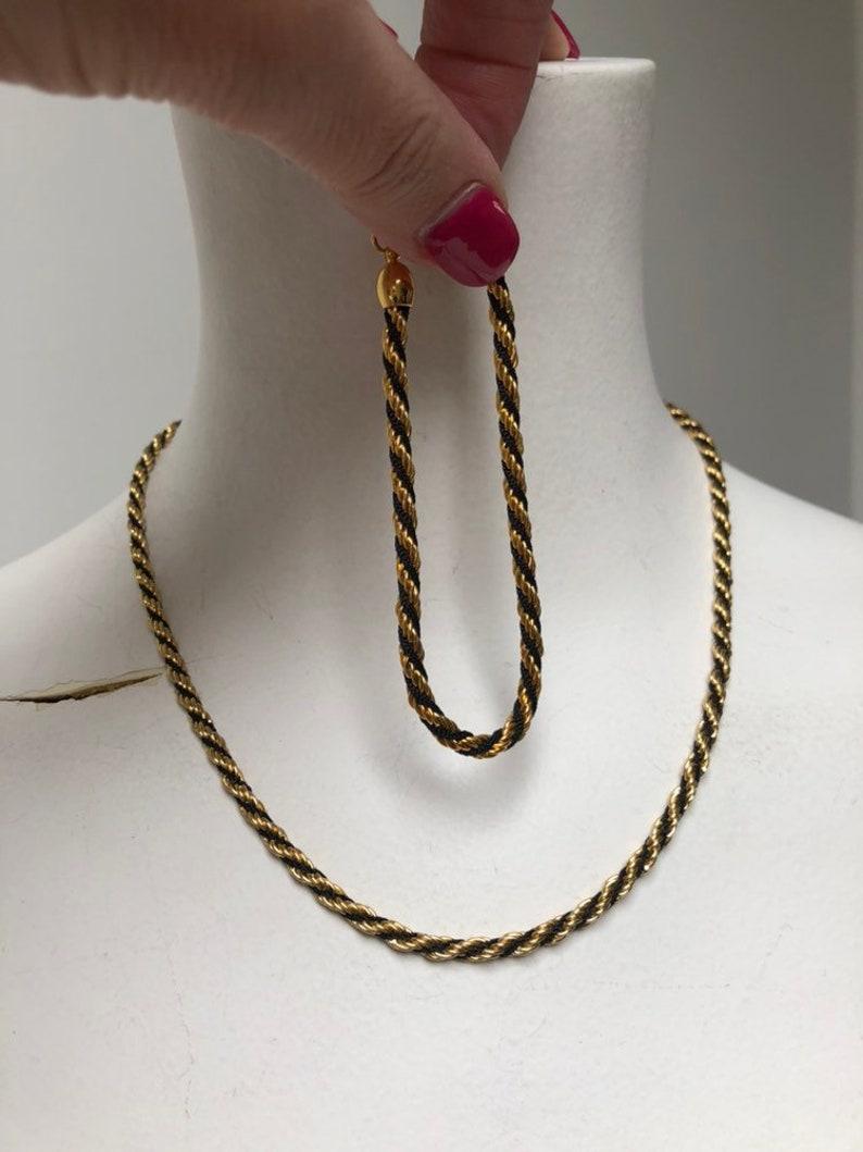 7.5 black gold twisted rope bracelet Vintage black gold twisted rope Trifari bracelet necklace black gold set 17 black gold rope chain