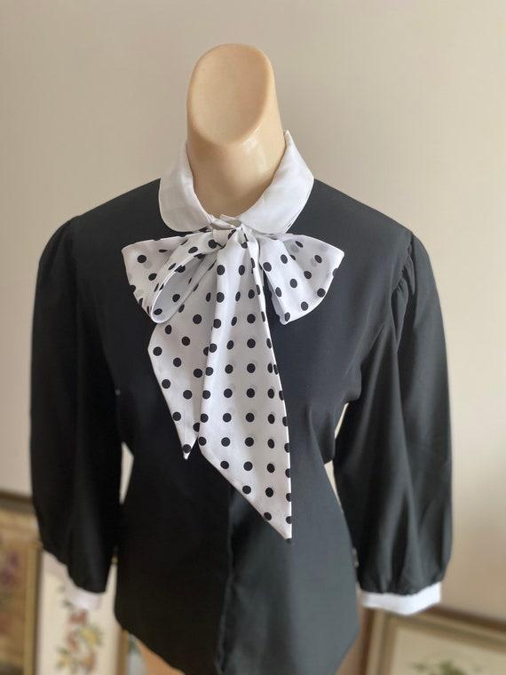 Vintage Secretary Blouse  Vintage Black and White Blouse  Vintage Short Sleeved Blouse  Vintage Polkadot Blouse  Vintage Gift  1970