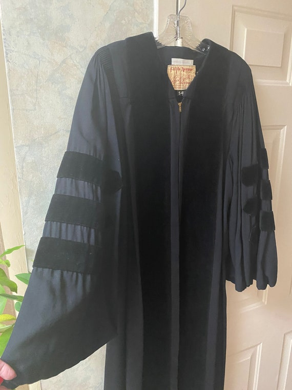 Vintage black velvet Phd. graduation robe, Fifth A