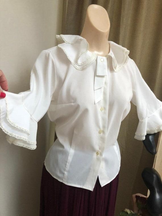 Vintage white double ruffles retro blouse Small, … - image 7