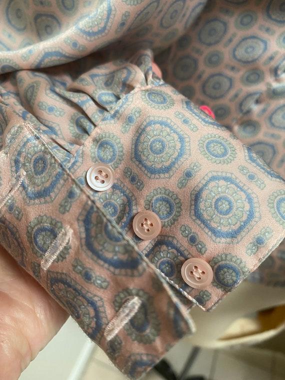 Vintage silky sexy secretary pastels blouse M, ma… - image 5