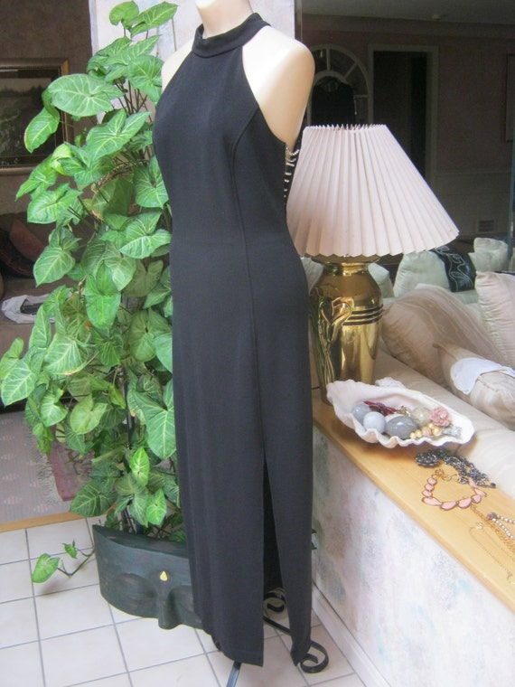 Vintage sexy black halter style gown, black open … - image 5