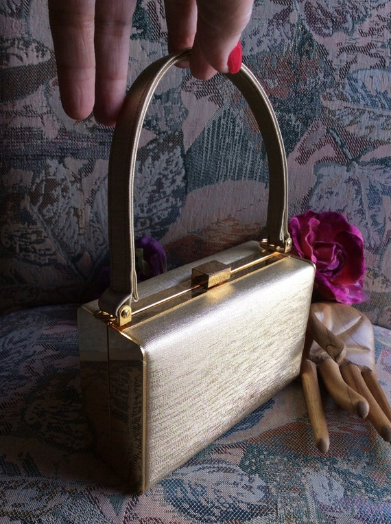 Vintage hard shaped gold boxy bag, Sasha gold Kell