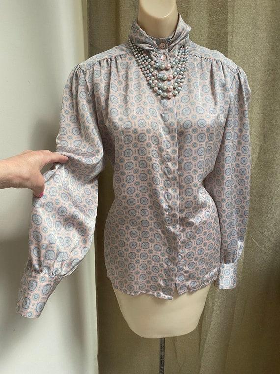 Vintage silky sexy secretary pastels blouse M, ma… - image 2