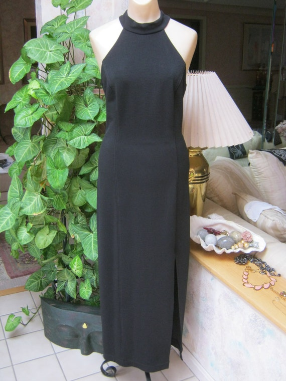 Vintage sexy black halter style gown, black open … - image 2