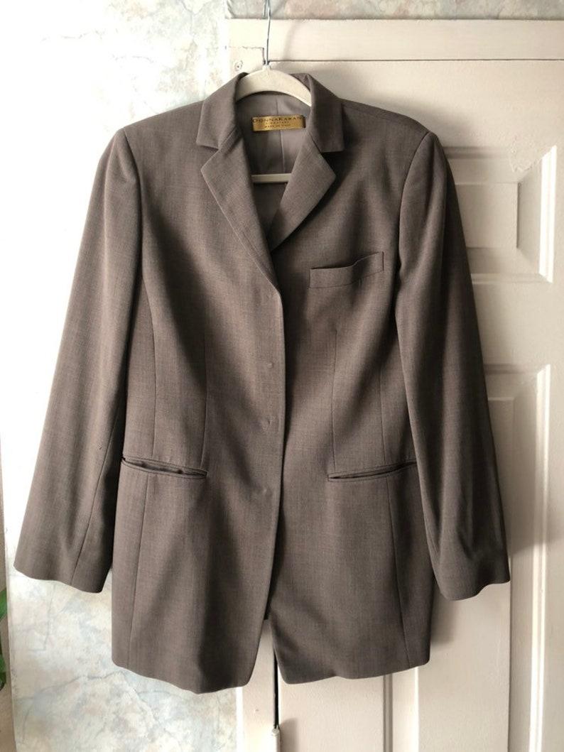 Vintage taupe Donna Karan classic blazer sz 8 made Italy dark khakiolive fitted professional blazer Donna Karan Signature sz 8 blazer
