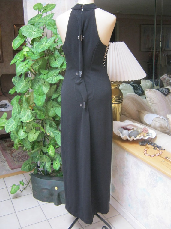Vintage sexy black halter style gown, black open … - image 4