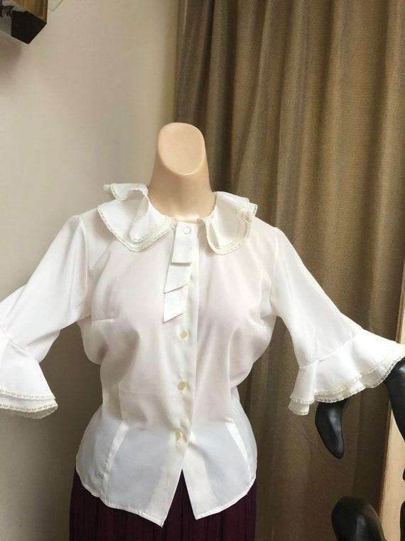 Vintage white double ruffles retro blouse Small, … - image 9