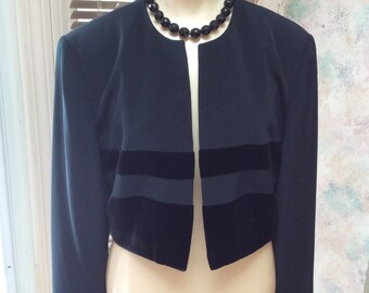 Vintage black dressy boxy jacket, black velvet trim bolero evening top, size 10 short black evening jacket, Jones NY black velvet jacket