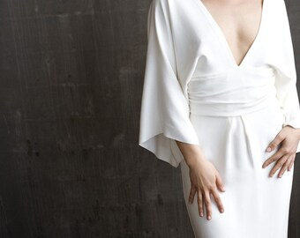 DREW kimono sleeve low V silk crepe column gown with accented waistline